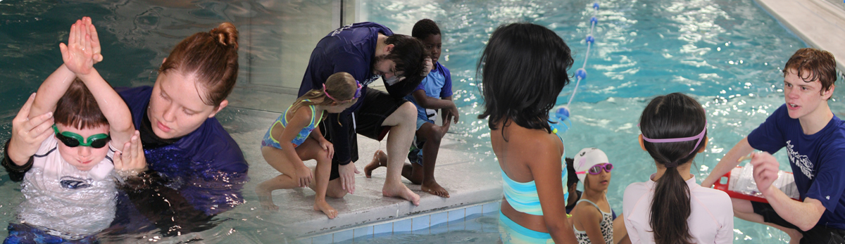 Swim Lessons with Children and Instructors